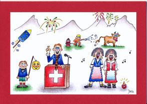 lustige Grusskarte Schweizer Tracht