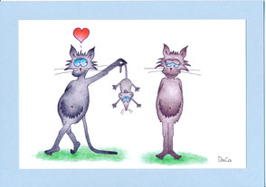 lustige Geburtstagskarte Katzen Maus