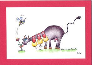 lustige Grusskarte Kuh mit Glocken