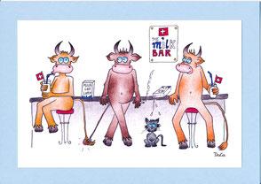 lustige Grusskarte Kühe Milchbar