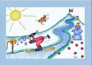 lustige Grusskarte Skifahrer