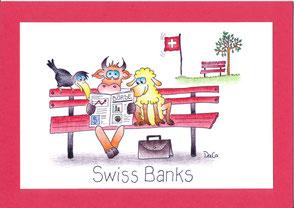 lustige Grusskarte Tiere Bank