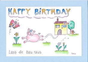 lustige Geburtstagskarte Schwein