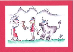 lustige Grusskarte Idylle Schweiz