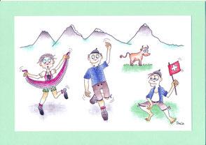 lustige Grusskarte Schweizer Tanz