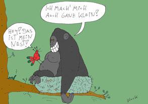 Cartoon Oliver Kock Gorilla besetzt ein Vogelnest