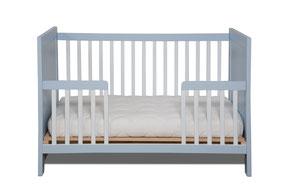 Babybett Gitterbett mitwachsend bis zum Mini-Kojenbett blau weiß Buche