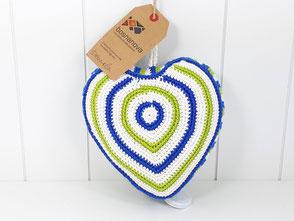 Spieluhr Herz gehäkelt grün blau weiß LaLeLu