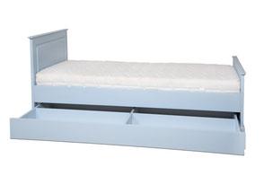 Jugendbett EInzelbett mit Gästebettschublade in blau aus massiver Buche