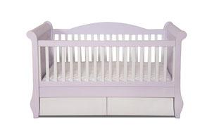 Babybett Gitterbett Kinderbett mit 2 Bettschubladen in rosa weiß aus Massivholz