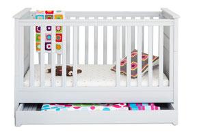 Babybett Gitterbett mit Bettschublade hellgrau