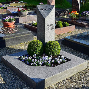 Urnengrab schlicht Impala Granit Bepflanzung Bux