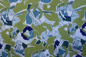 Stoffdesign Muster | Hellgrün | Blau | Weiss | Natursteinkissen | Kirschsteinkissen
