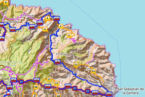 Auschnitt - Wanderkarte von La Gomera