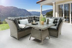 Balkontisch Gartentisch Klapptisch Sessel Gartensessel Polster Teaktisch Balkon Holztisch Destiny Collection
