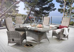 Malaga Tisch Polyrattan Sessel Gartensessel Geflechtsessel Polster Geflechttisch Polyrattan Polyrattantisch