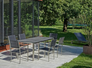 Palma Geflechtset Loungeset Geflechtlounge Gartenlounge Polster Destiny Collection Glastisch Polyrattantisch