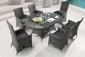 Santos Sitzgruppe Hochlehner Tisch Polyrattan Glastisch Sessel Geflechtsessel Destiny Collection