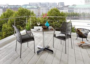 Edelstahltisch Edelstahlgestell Gestell Hochwertig Textilen Sessel Textilene Gartensessel Gartentisch Destiny Collection