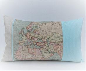 """Dekokissen """" Landkarte Blau"""" . 38,00€"""