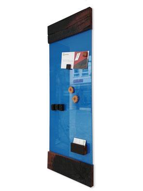 """Glasmagnettafel """" Himmelblau mit Holzfriesen"""" .  269,00 €"""