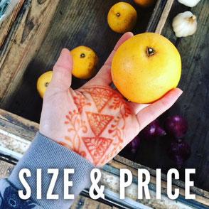 サイズと料金について。