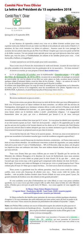 Lettre du président du Comité Père Yves Olivier du 15/09/18