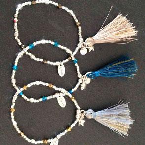 Bracelet élastique très résistant facile à mettre gravé couple Fille ou Femme