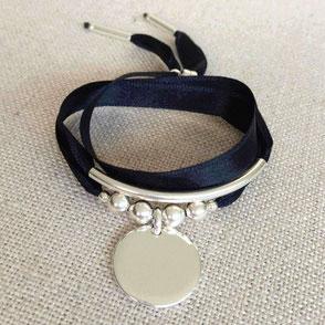 Bracelet en satin intemporel et couture princesse gravé cadeau maman idée originale