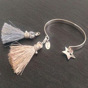 Bracelets Jonc médaille naissance bijou artisanal