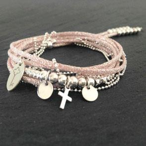 Bracelet lamé argent jeton gravé tube initiales