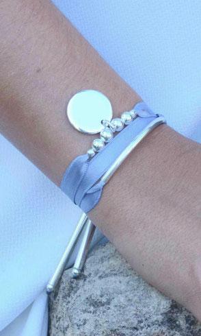 Bracelets satin pailleté chaine queue de souris nylon personnalisés