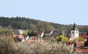 Ortsansicht, Ödenwaldstetten, Gemeinde Hohenstein, Ferienwohnung, Haus im Gässle, Schwäbische Alb, Selbstversorger, Urlaub, Erholen, Ferien