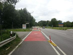 sichere Routenführung, Straßenmarkierung Rad
