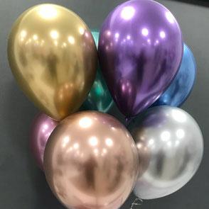 Ballons latex gonflés Chrome