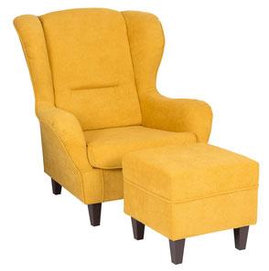 Supellex Sofia Ohrensessel, Fernsehsessel mit Armlehnen und Hocker Design: Webstoff, gelb
