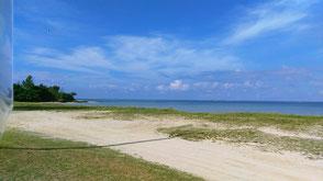 天然の白浜ビーチが目の前