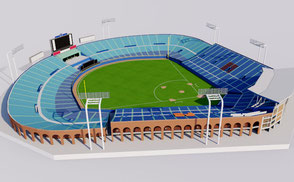 Meiji Jingu Stadium - Tokyo Japan 3D model national athletic sport games stadion estadio stade football soccer rugby ar vr asia championship competition event exterior baseball softball sport ar vr olympic games 2020 2019 rugby