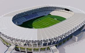 Ajinomoto Stadium - Tokyo Japan  football spccer athletic track olympic rugby world cup 2019 sengawa stadium VR / AR / low-poly 3D ModelsExteriorStadiumSapporo Dome - Japan VR / AR / low-poly 3d model stade stadion football soccer baseball ballpark