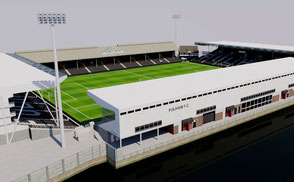 Craven Cottage - Fulham London low-poly 3d model ready for Virtual Reality (VR), Augmented Reality (AR), games and other real-time apps.
