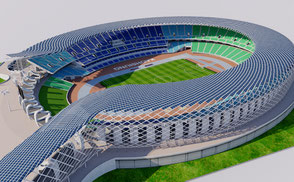 National Stadium Kaohsiung - Taiwan 3D model national athletic sport games stadion estadio stade football soccer rugby ar vr asia championship competition event exterior
