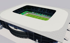 Volkswagen Arena - Wolfsburg low-poly 3d model ready for Virtual Reality (VR), Augmented Reality (AR), games and other real-time apps.