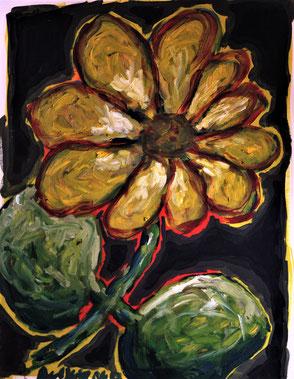 Ölbild Blume Gelb Künstler August