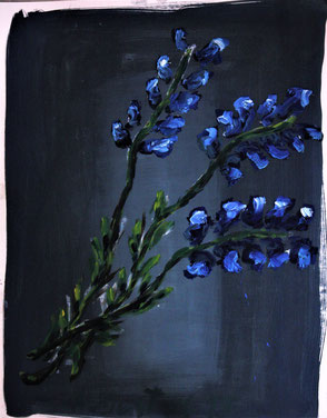 Ölbild Blume Blau Künstler August