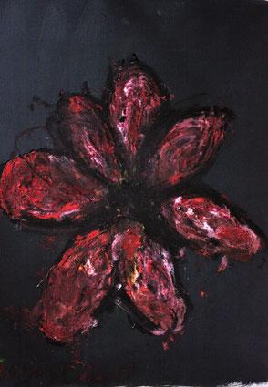Ölbild Blume Rot Künstler August