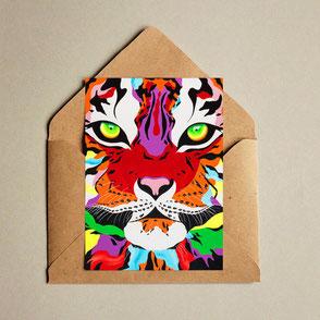 colorful tiger illustration print