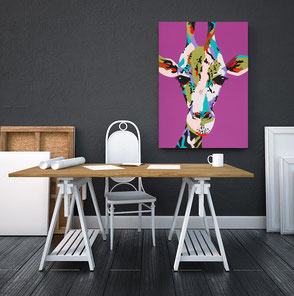 canvas print with colorful giraffe illustration
