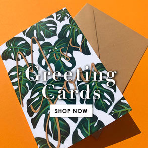 monstera miss you greeting card