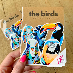 colorful bird sticker set