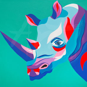 original painting colorful rhino